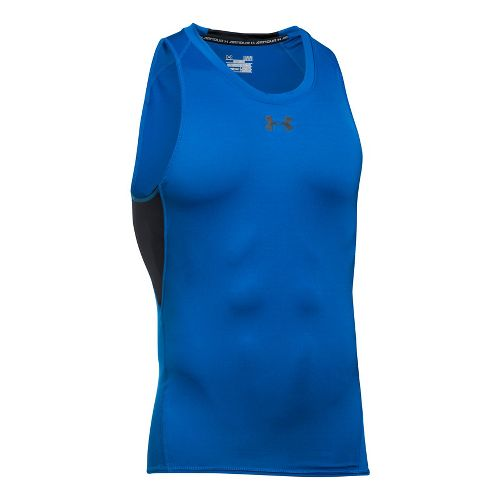 Mens Under Armour Heatgear Armour Compression Sleeveless & Tank Tops Technical Tops - Blue ...