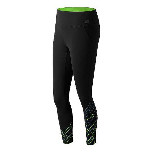 Womens New Balance Premium Performance Print Tights & Leggings Pants - Black Slash Print L ...