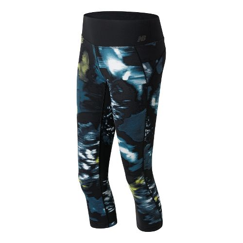 Womens New Balance Premium Performance Print Capris Pants - Urban Floral Print L