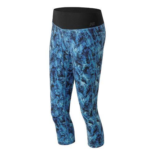 Womens New Balance Premium Performance Print Capris Pants - Majestic Feather S