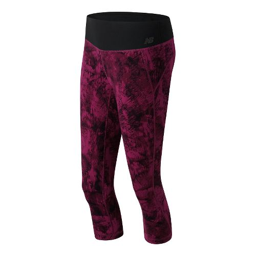 Womens New Balance Premium Performance Print Capris Pants - Jewel Feather Camo XS
