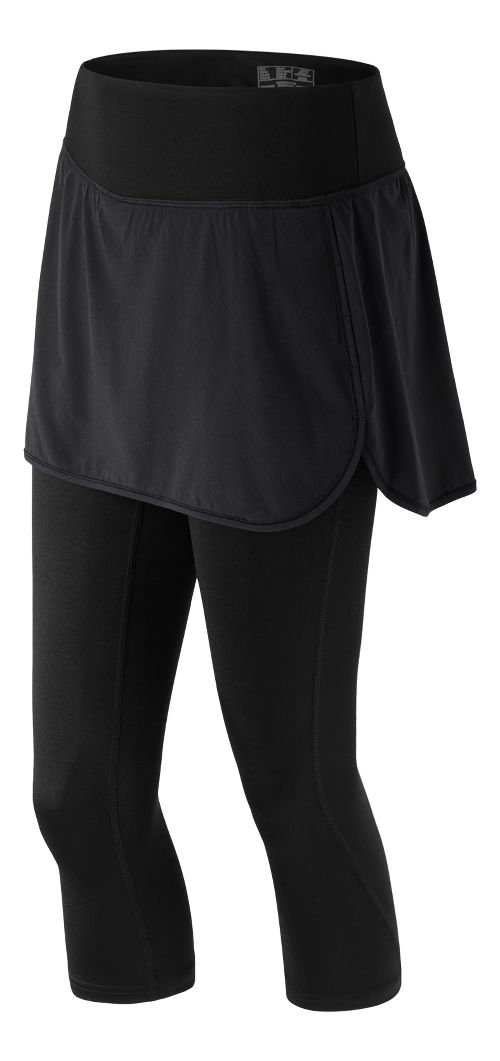 Womens New Balance Stretch Woven 2-In-1 Skapri Capris Pants - Black XS