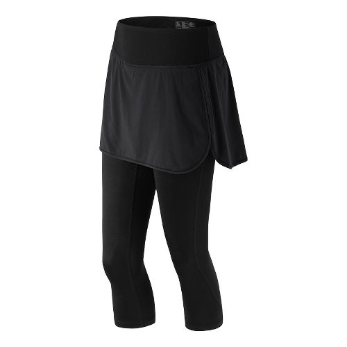 Womens New Balance Stretch Woven 2-In-1 Skapri Capris Pants - Black L