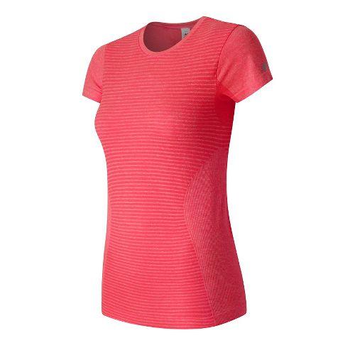 Womens New Balance M4M Seamless Short Sleeve Technical Tops - Aquarius Heather XS