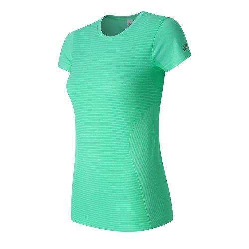 Womens New Balance M4M Seamless Short Sleeve Technical Tops - Guava Heather M