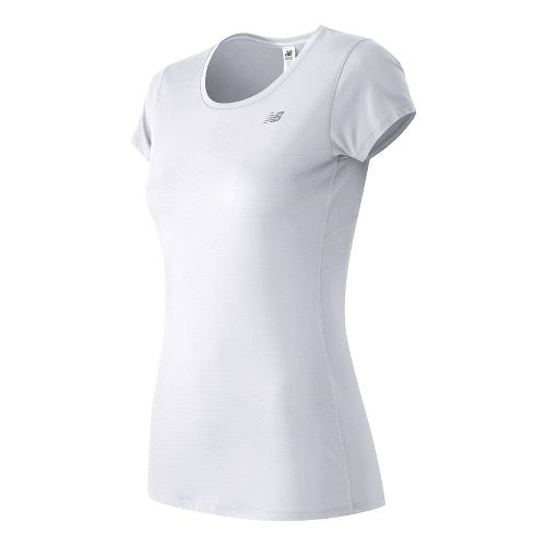 Womens New Balance Accelerate Short Sleeve Technical Tops - White XL