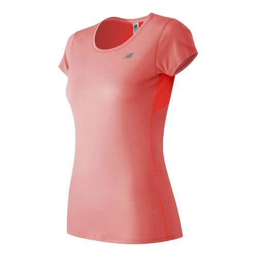 Womens New Balance Accelerate Short Sleeve Technical Tops - Bleached Sunrise M