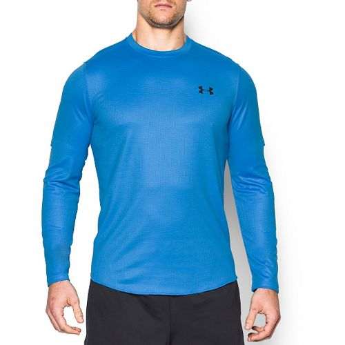 Mens Under Armour Tech Waffle T Long Sleeve Technical Tops - Electric Blue M
