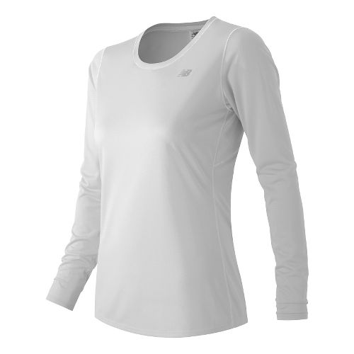 Womens New Balance Accelerate Long Sleeve Technical Tops - White XL