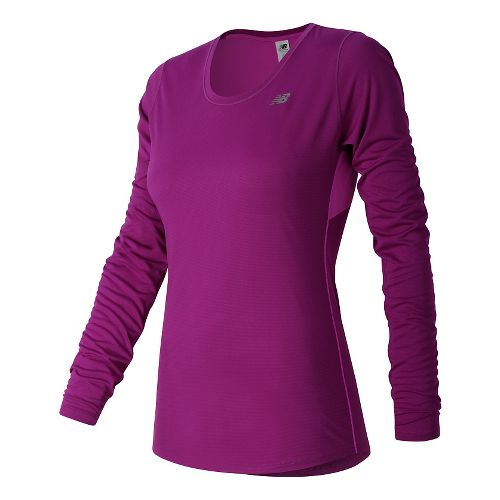 Womens New Balance Accelerate Long Sleeve Technical Tops - Jewel L