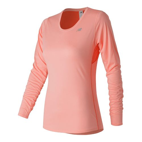 Womens New Balance Accelerate Long Sleeve Technical Tops - Bleached Sunrise XS