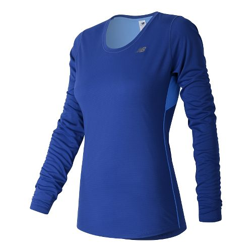 Womens New Balance Accelerate Long Sleeve Technical Tops - Bluefin S