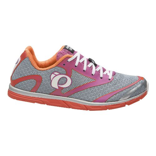 Womens Pearl Izumi EM Road N 0 v2 Running Shoe - Silver/Clementine 5.5