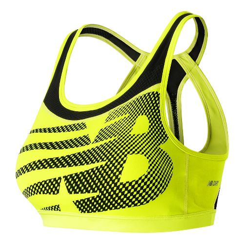 Womens New Balance The Metro Run Crop Sports Bras - Firefly S