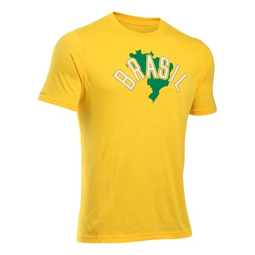 Mens Under Armour Brazil Country Pride Triblend T Short Sleeve Technical Tops - Lemonade/Ivory ...