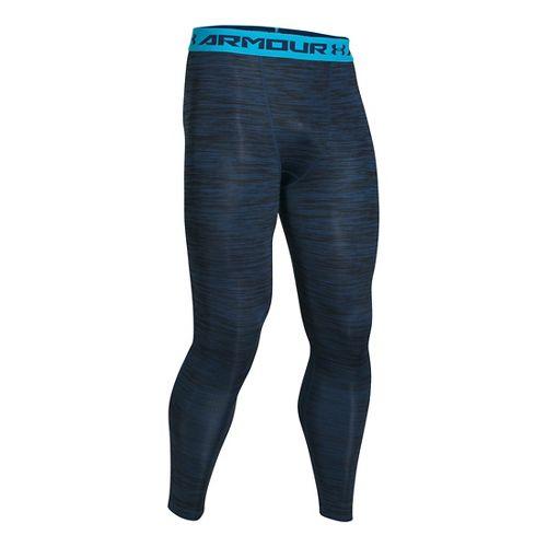 Mens Under Armour HeatGear Podium Compression Tights & Leggings Pants - Blackout Navy L-R