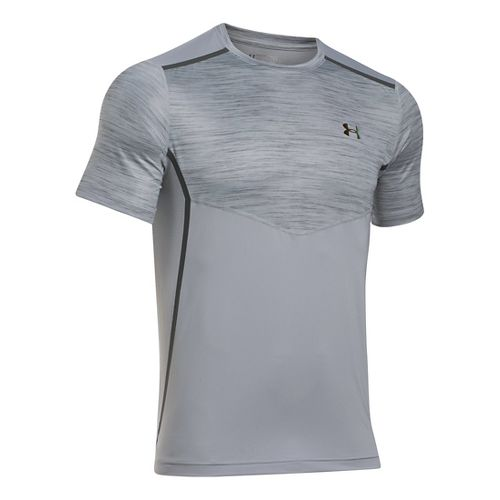 Mens Under Armour HeatGear Podium Fitted T Short Sleeve Technical Tops - Overcast Grey M-R ...