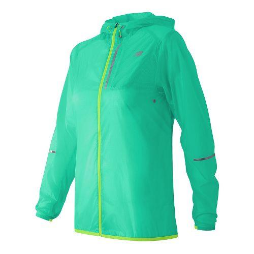 Womens New Balance Lite Packable Running Jackets - Vivid Jade M