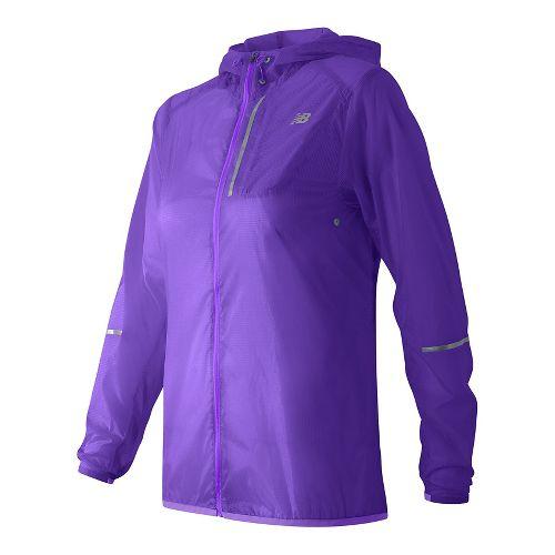 Womens New Balance Lite Packable Running Jackets - Deep Violet S