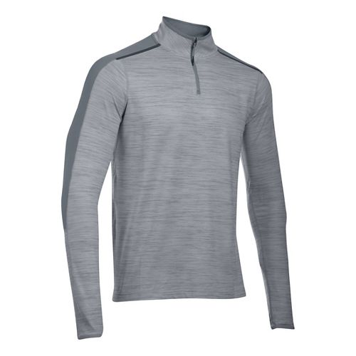 Mens Under Armour HeatGear Podium 1/4 Zip Long Sleeve Technical Tops - Overcast Grey M-R ...