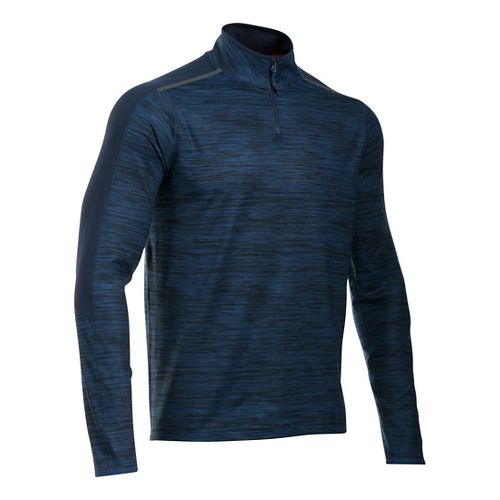 Mens Under Armour HeatGear Podium 1/4 Zip Long Sleeve Technical Tops - Blackout Navy S ...