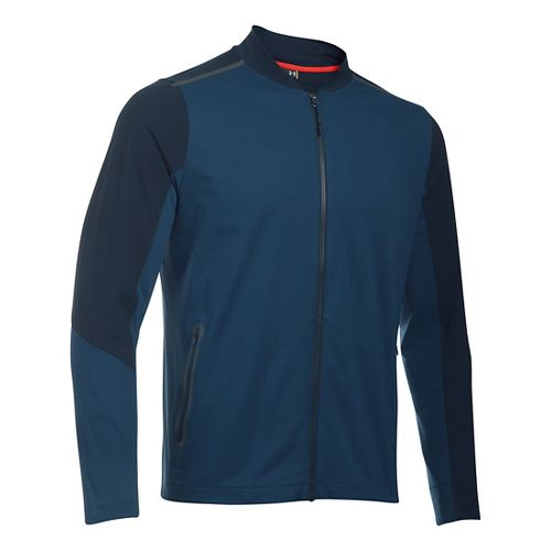 Mens Under Armour HeatGear Podium Knit Cold Weather Jackets - Blackout Navy M-R