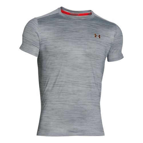 Mens Under Armour CoolSwitch Run Podium Short Sleeve Technical Tops - Overcast Grey M-R
