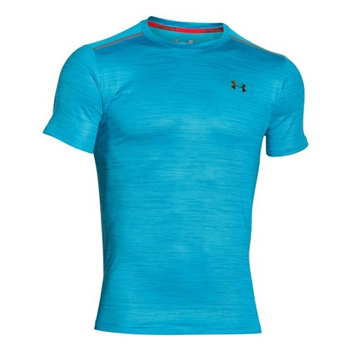 Mens Under Armour CoolSwitch Run Podium Short Sleeve Technical Tops - Meridian Blue XS