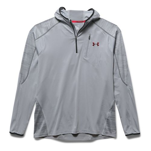 Mens Under Armour CoolSwitch Run Podium 1/4 Zip Hoodie & Sweatshirts Technical Tops - Overcast ...