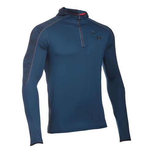 Mens Under Armour CoolSwitch Run Podium 1/4 Zip Hoodie & Sweatshirts Technical Tops - Blackout ...