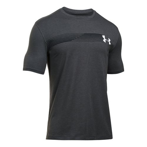 Mens Under Armour Fast Left Chest T Short Sleeve Technical Tops - Carbon Heather/Black XLR ...