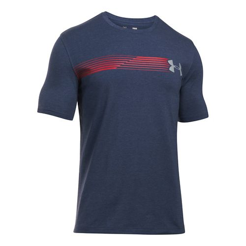 Mens Under Armour Fast Left Chest T Short Sleeve Technical Tops - Midnight Navy/Red LR ...