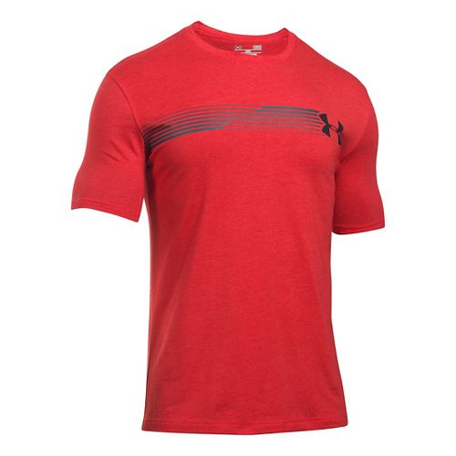 Mens Under Armour Fast Left Chest T Short Sleeve Technical Tops - Red/Stealth Grey LR ...