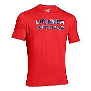 Mens Under Armour Stacked Wordmark T Short Sleeve Technical Tops