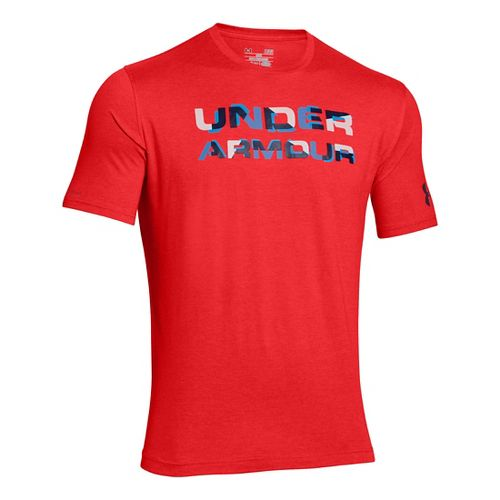 Mens Under Armour Stacked Wordmark T Short Sleeve Technical Tops - Rocket Red XXL-R
