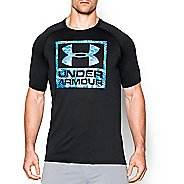 Mens Under Armour Tech Boxed Logo T Short Sleeve Technical Tops - Black/Electric Blue M-R
