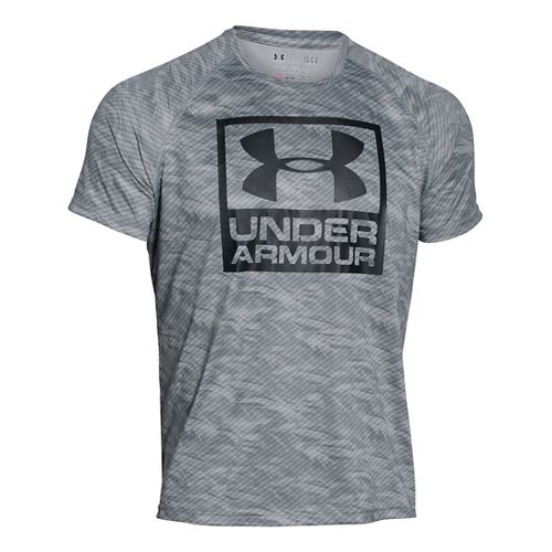 Mens Under Armour Boxed Logo Printed T Short Sleeve Technical Tops - Steel M-R