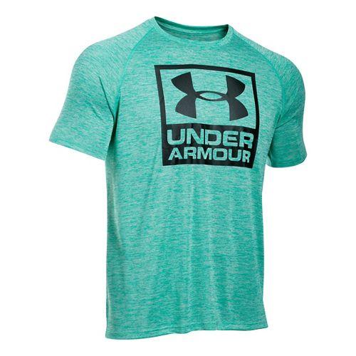 Mens Under Armour Boxed Logo Twist T Short Sleeve Technical Tops - Green Malachite L-R ...