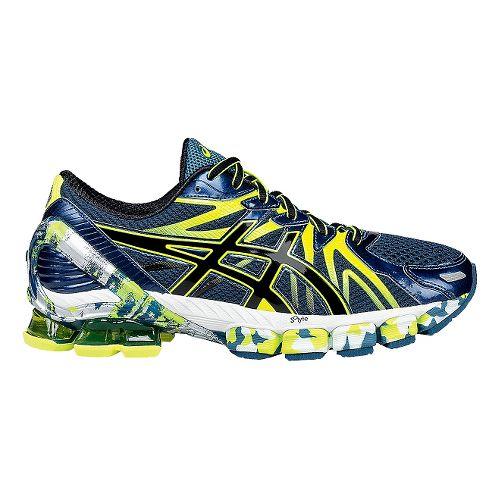 Mens ASICS GEL-Sendai 3 Running Shoe - Ink/Flash Yellow 10.5