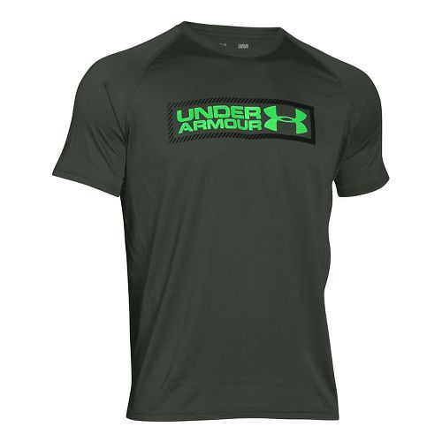 Mens Under Armour Tech Double Up T Short Sleeve Technical Tops - Combat Green XXL-R ...