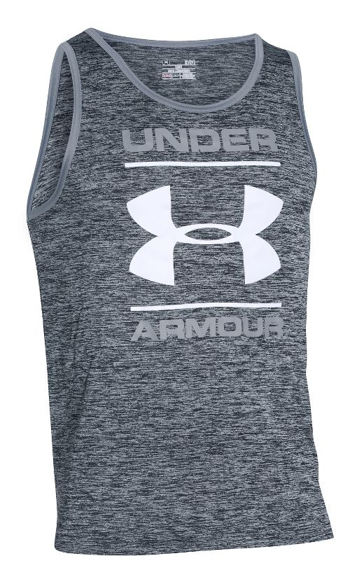 Mens Under Armour Tech Graphic Sleeveless & Tank Technical Tops - Black XXL-R