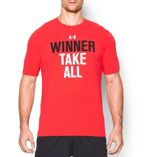 Mens Under Armour Winner Take All T Short Sleeve Technical Tops - Rocket Red S ...