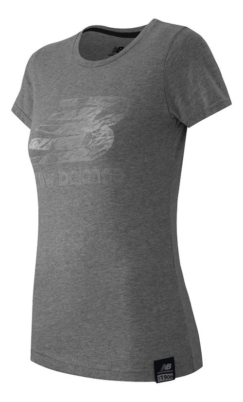Womens New Balance Essentials Plus Logo Tee Short Sleeve Technical Tops - Athletic Grey L