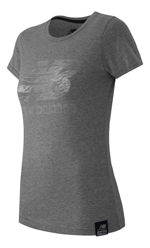 Womens New Balance Essentials Plus Logo Tee Short Sleeve Technical Tops - Athletic Grey S