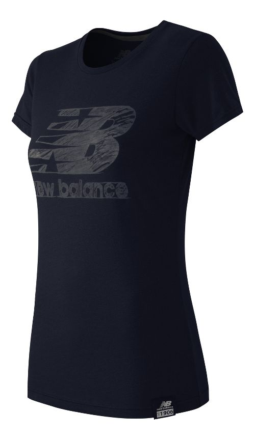 Womens New Balance Essentials Plus Logo Tee Short Sleeve Technical Tops - Navy M