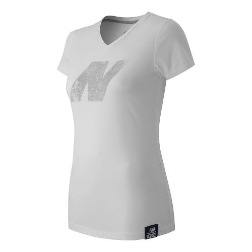 Womens New Balance N Tee Short Sleeve Technical Tops - White L