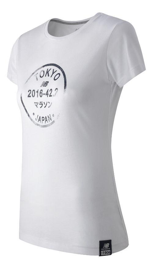 Womens New Balance Passport Tee Short Sleeve Technical Tops - White XL