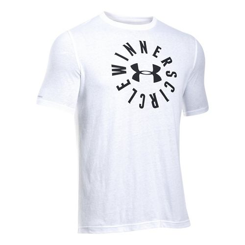Mens Under Armour Winners Circle T Short Sleeve Technical Tops - White M-R