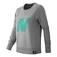 Womens New Balance Crewneck Sweater Hoodie & Sweatshirts Technical Tops - Athletic Grey M