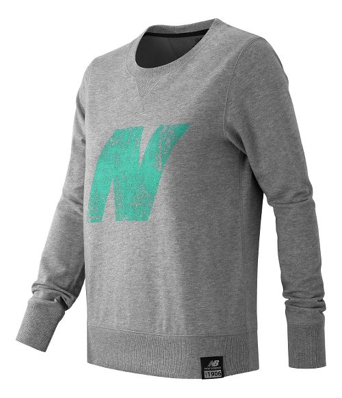 Womens New Balance Crewneck Sweater Hoodie & Sweatshirts Technical Tops - Athletic Grey XS